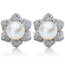 Freshwater Pearl 925 Silver Earrings White Ivory Art Deco Bridal Flower Studs