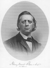 God's Love Minister HENRY WARD BEECHER Suffrage Slavery 1877 Art Print Engraving
