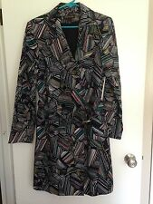 NEW Duro Olowu for JCP Black Leaf Print Belted Ladies Trench Coat Size M
