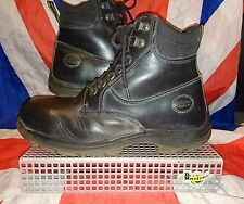*7 Eye Black Steel Toe Cap Industrial Dr Doc Martens*Goth Skinhead Punk Work*10