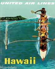 green PRINT VINTAGE ART hawaii  TRAVEL POSTER A1 SIZE PRINT FOR YOUR FRAME