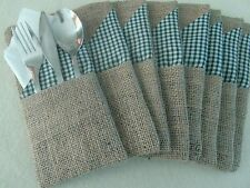 Set of 8 hessian and gingham,Festive, Party, Christmas table Cutlery Holders
