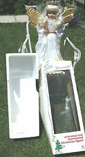 """Vintage Animated Guardian Angel with Crown Lace Gown 23"""" tall Trimmings Inc"""