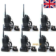 6pcs Walkie Talkie UHF 400-470MHZ 2-Way Radio 16CH 5W BF-888S Earpiece UK Plug