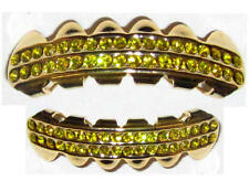 Hip Hop 14K Gold Plated Mouth Grillz Upper & Lower Set New - Rows of Gold Bling
