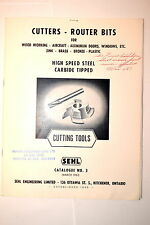 1962 SEHL CATALOG #3 CUTTERS ROUTER BITS HSS CARBIDE TIPPED CUTTING TOOLS #RR957