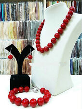 Real natural 8MM red shell pearl necklace 18 '' bracelet 7.5 ''earrings