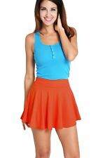 Women's Cotton Stretch High Waist Skater Flared Pleated Mini Skirt Solid Dress