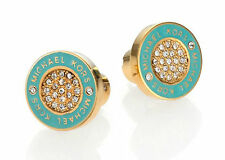 Crystal Pave Turquoise Printed Logo Gold-Tone Plated Stud Earrings