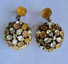 RARE VINTAGE NETTIE ROSENSTEIN huge balls yellow clip dangle earrings NOT signed