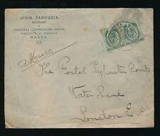 MALTA KE7 1910 PRINTED ENVELOPE FARRUGIA 2 x 1/2d
