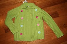 NWT Gymboree Smart and Sweet Size 7-8 Green Cabled Flower Cardigan Sweater