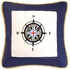 SAIL AWAY COMPASS PILLOW : NAUTICAL BEACH BOAT QUILTED THROW