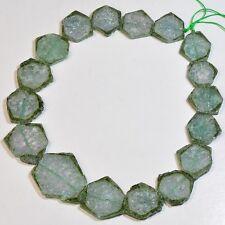 "428.80CT Green Watermelon Tourmaline Smooth Slices Beads 16.5"" Strand"