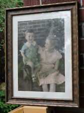 Vintage ART DECO Girl in PINK  w/ Little Brother Original Picture FRAME c1930s