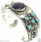 TAXCO MEXICAN STERLING SILVER AMETHYST TURQUOISE BEADED CUFF BRACELET MEXICO