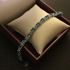 "GB150 Aquamarine 7.5""/19cm x 6mm silver bracelet (white gold gf) BOXED Plum UK"