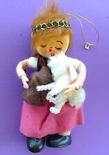 VINTAGE CHRISTMAS MARY HAD A LITTLE LAMB FELT CHENILLE TREE ORNAMENT JAPAN