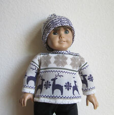 Nordic-Themed PURPLE DEER & SNOWFLAKES SWEATER & Matching HAT fits American Girl