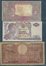 Indonesia 5, 50 Rupiah 3 Pcs Set, 1957 1960 1968, P 82a 104a 50a