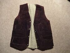 VINTAGE Suede Leather PATCHWORK VEST M L Lined with Faux Wool Fur Brown Snap