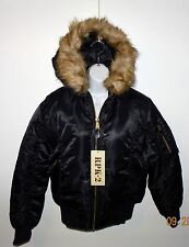 Womens MA-1 Flight Parka Jacket Coat With Extended Fur Brimmed Hood black & red