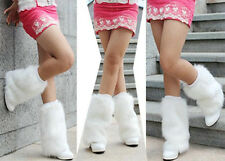 New Lady Women Girl Boot Cuff Fluffy Soft Furry Faux Fur 30cm white Leg Warmer