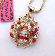 Betsey Johnson shiny crystal/red enamel ladybug pendant Necklace#270L,R