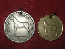 LOT OF 2 VINTAGE ANTIQUE SILVER + GOLD IRISH HORSE/HARP COIN  PENDANT NECKLACE