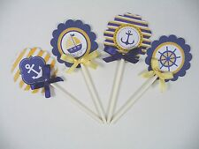 Nautical Cupcake Toppers /yellow and Navy Blue Cupcake toppers 2Dozen  ready use