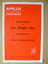 Apollo Theatre Programme 1956- ONE BRIGHT DAY by Sigmund Miller