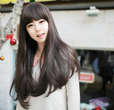 Long Straight Full Wig Natural Human Hair Dark Brown Sexy Party Women