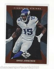 GREG JENNINGS 2013 LIMITED #d 336/399 MINNESOTA VIKINGS