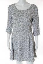 Myne Ashley Ann Gray White Black Striped Open Back Dress Size 6
