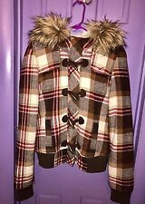 Hollister junior M womens wool plaid fur Hoodie coat jacket sherpa lined brown
