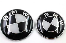 NEW BMW 82mm+73mm Black and white Silver  Emblems Trunk Hood Badge Logo Set