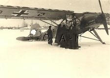 WWII German Large RP- Luftwaffe- Airplane- Fieseler Storch  Fi 156- Winter- Snow