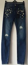 New M&S WOMENS LIMTD EDITION SKINNY JEANS STONES WORK ON DK INDIGO SIZE10/LONG