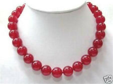 """Red 10mm Ruby Round Beads Gemstone Necklace 18"""""""