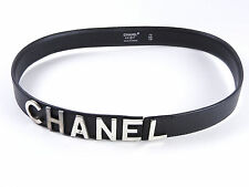 Auth CHANEL CC Logo Leather Belt Silver Plated Calf Skin Black 28 Inch 96P A4311