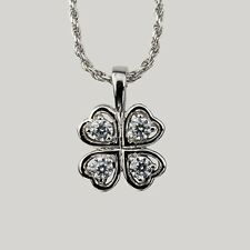 Sterling Silver Cubic Zirconia 4 Leaf Clover Shamrock Pendant with Chain