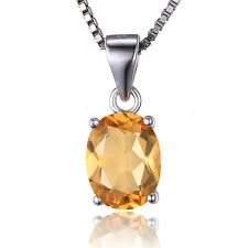JewelryPalace 1.7ct Natural Citrine Birthstone Pendant Solid 925 Sterling Silver