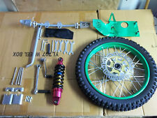 gio 125cc front wheel, rotor,kick start,shock,shift lever,skid plate ( green)