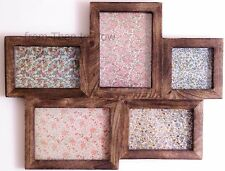 Large Multi Wooden Photo frame 5 Picture in Dark Wood by Sass & Belle
