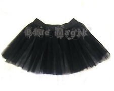 Girls Black 2 Layers Witch Gothic Tutu Skirt Night Out Halloween Fancy Dress