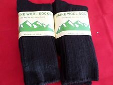 2 Pair Large Maine 95% Merino Wool Ragg Crew Sock 9-12 Made in USA Black