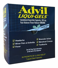 Advil Liqui-Gels, 10 Packets of 2 Capsules First Aid Refill Prepper Bug Out Bags