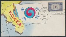"#921 ON MAE WEIGAND HAND PAINTED FDC CACHET ""KOREA"" BS2462"