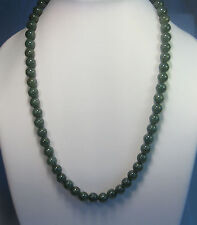 Grade A VERDE SCURO Jade 9mm Perline Collana