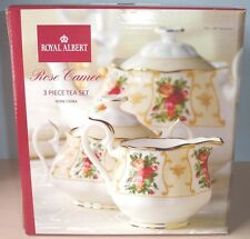 Royal Albert Rose Cameo Peach Teapot Sugar Bowl & Creamer 3 Piece Tea Set New